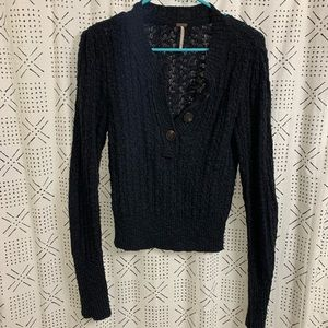 Free People Navy Cableknit Sweater Size Small